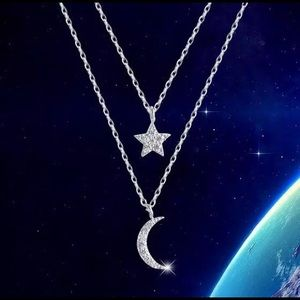 Star ⭐️ and moon 🌙 sterling silver Necklace